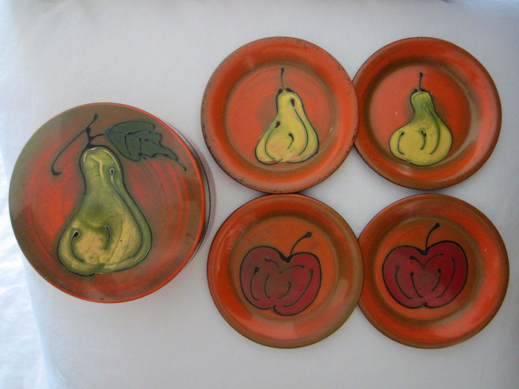 Japanese Coasters Nesting Orange Black Lacquer Box Painted Fruits - Designer Unique Finds   - 1