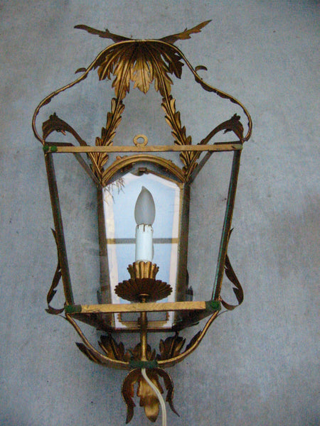 Continental Tole Gilt Decorated Wall Lantern - Designer Unique Finds   - 3