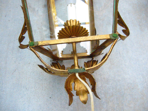 Continental Tole Gilt Decorated Wall Lantern - Designer Unique Finds   - 5