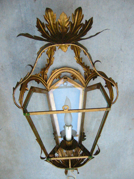 Continental Tole Gilt Decorated Wall Lantern - Designer Unique Finds   - 7