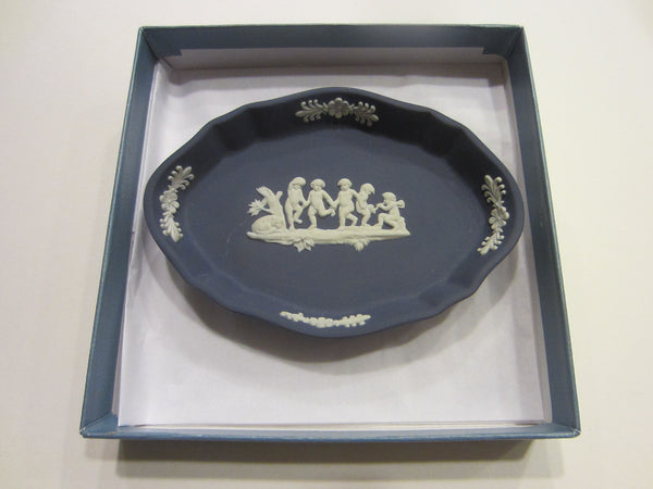 Wedgwood White On Portland Blue Tray Silver Oval Design Bass Relief - Designer Unique Finds