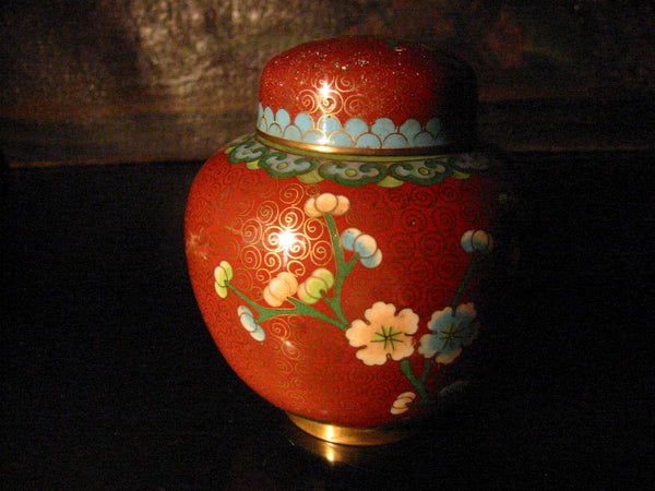 China Cloisonne Ginger Jar Floral Enameling Over Brass