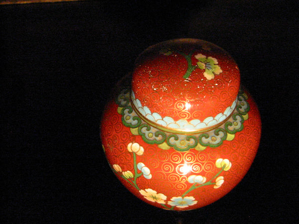 China Cloisonne Ginger Jar Floral Enameling Over Brass - Designer Unique Finds