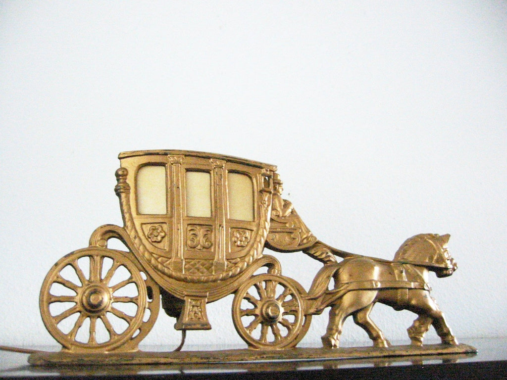 Spanora Stage Coach Cast Brass Equestrian Art Deco Budoir Lamp - Designer Unique Finds   - 1