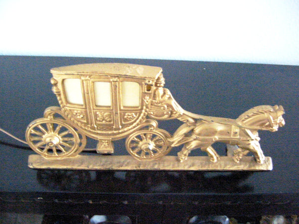 Stage Coach Cast Brass Spanora Art Deco Equestrian Signature Boudoir Lamp
