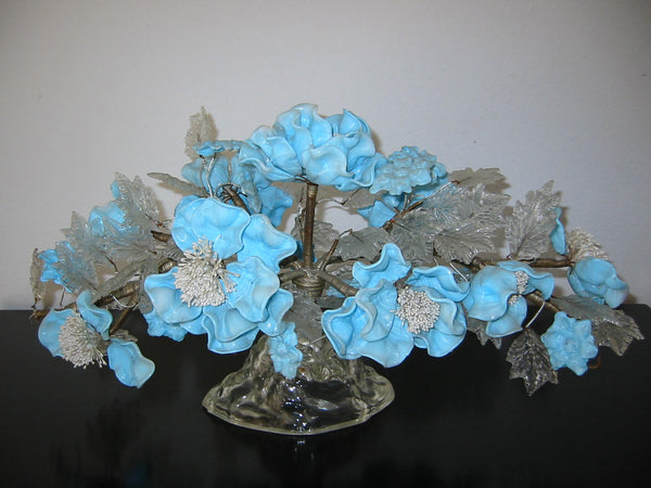 Venetian Glass Centerpiece Blue Flowers Arrangement Clear Petals - Designer Unique Finds