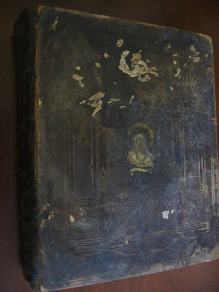 Illustrated Family Bible Leather Cover Album Circa 18th Century John Potter - Designer Unique Finds