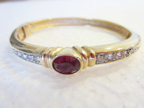 Ruby Glass Golden Bangle White Crystals - Designer Unique Finds