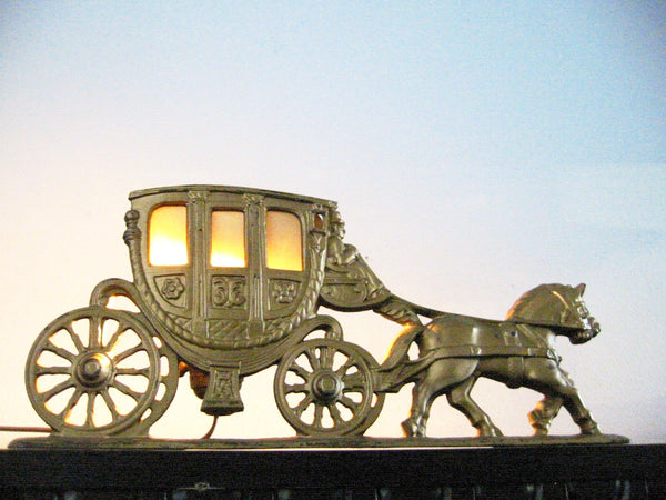 Spanora Stage Coach Cast Brass Equestrian Art Deco Budoir Lamp - Designer Unique Finds   - 3