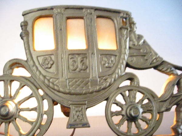 Art Deco Budoir Table Lamp Marked Spanora Stage Coach Cast Brass Equestrian - Designer Unique Finds