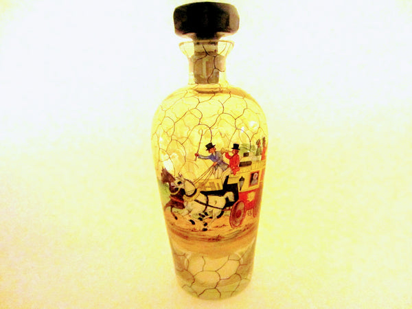 Bohemian Glass Decanter Hand Painted Scripted Equestrian Black Crystal Stopper