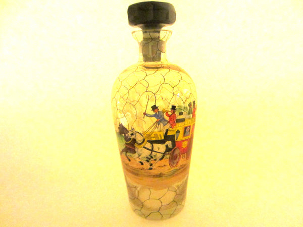 Czech Glass Decanter Scripted Equestrian Black Crystal Stopper