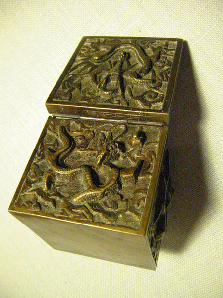 Asian Inkwell Majolica Dragon Art Deco Square Box - Designer Unique Finds   - 6