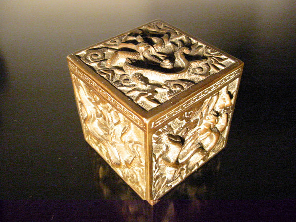 Asian Inkwell Majolica Dragon Art Deco Square Box - Designer Unique Finds   - 3