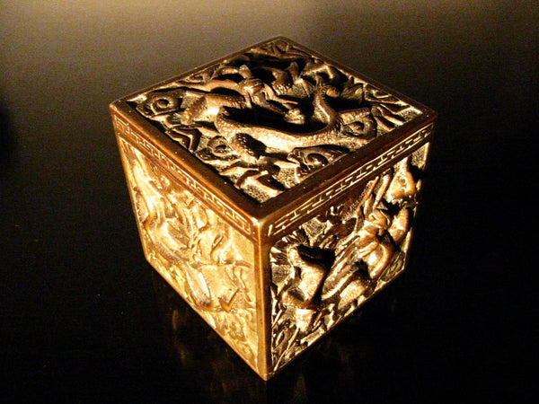 Asian Inkwell Majolica Dragon Art Deco Square Box - Designer Unique Finds   - 2