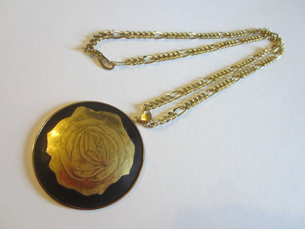 Amita Damascene Flower Bamboo Pendant Gold 12 K Gold Plated Chain - Designer Unique Finds