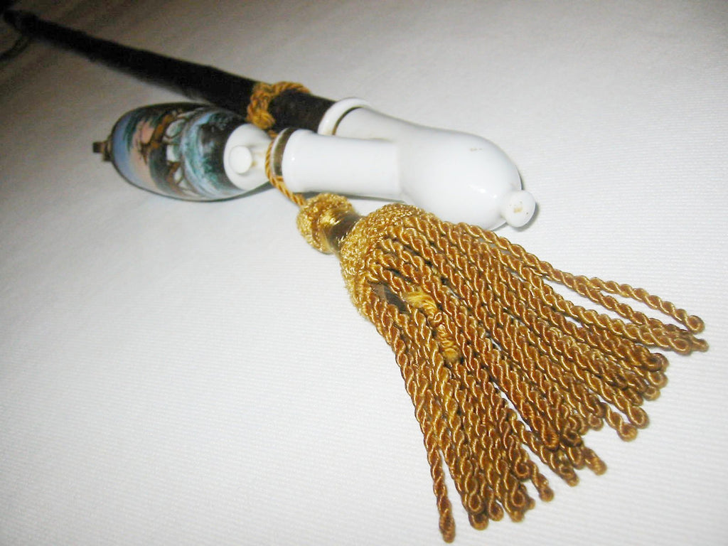 Tassel Motif Porcelain Horn Smoking Pipe Painted Elk Made In Germany - Designer Unique Finds   - 1