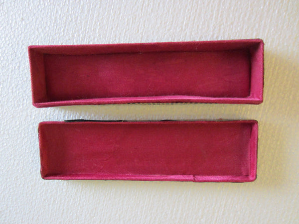 Chinese Shang Hai Bamboo Jewelry Box Red Silk Interior