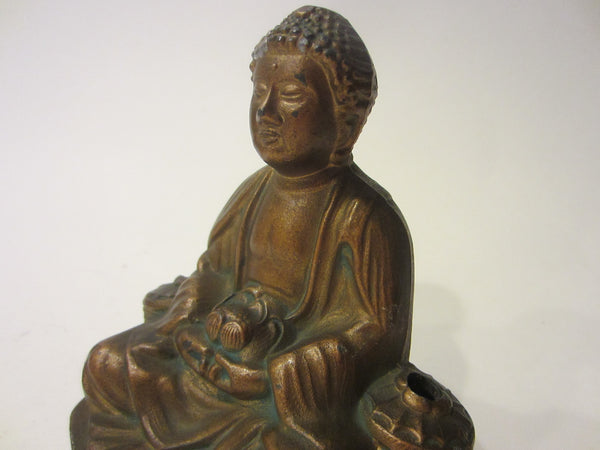 Bronze Buddha Incense Statue Gilt Decorated