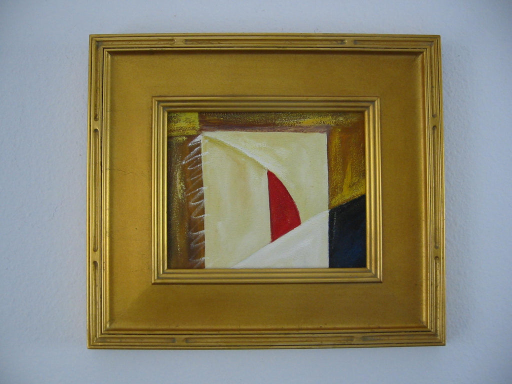 Abstract Folk Modern Art Oil On Canvas Gilt Wood Frame - Designer Unique Finds
