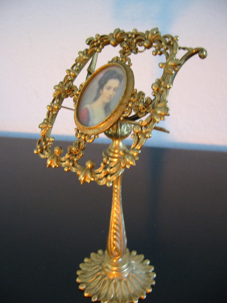 Florenza Photo Frame Floral Medallion Ormolu Brass Folk Stand - Designer Unique Finds   - 6