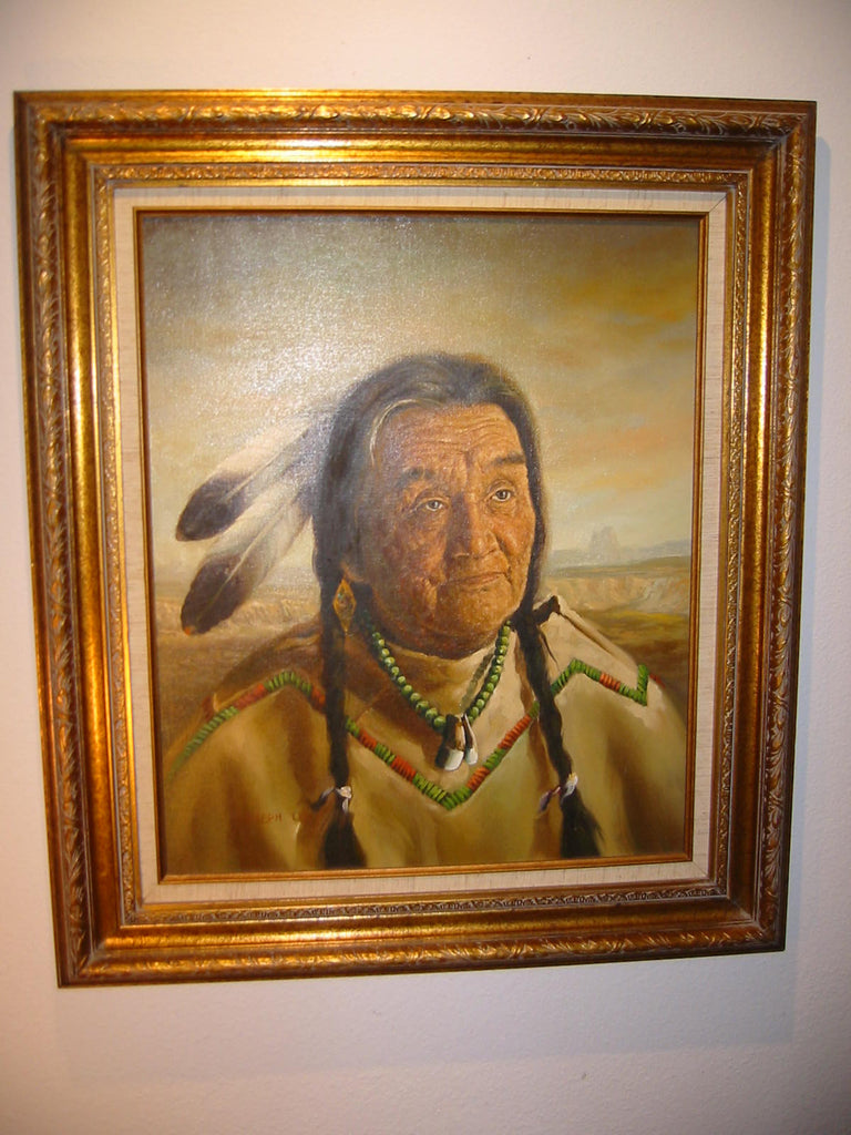 Joseph Lee Native Indian Oil On Canvas Portrait - Designer Unique Finds   - 1