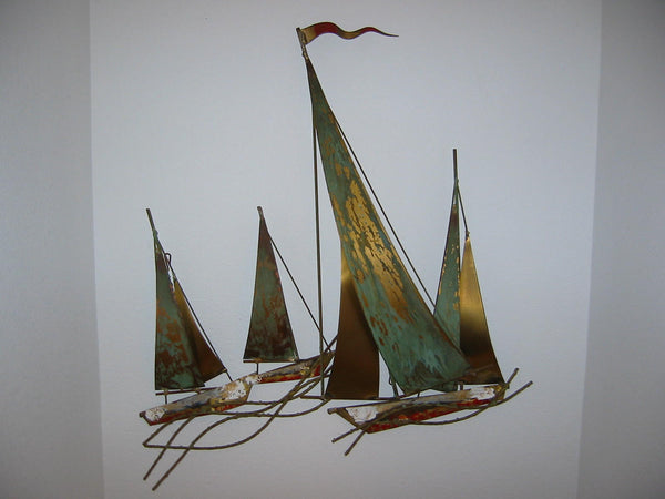 Brass Sail Boats Maritime Modern Hand Painted Wall Art - Designer Unique Finds   - 3