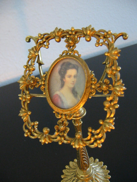 Florenza Photo Frame Floral Medallion Ormolu Brass Folk Stand - Designer Unique Finds   - 1