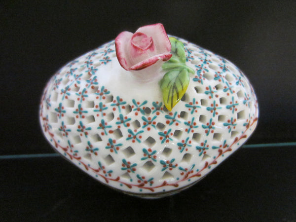 Royal Danube Rose Porcelain Box Pierced Decorated Diamond Shape - Designer Unique Finds   - 1