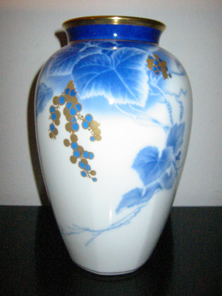 Okura Japan Gilt Decorated Berries Blue Vines Porcelain Vase - Designer Unique Finds