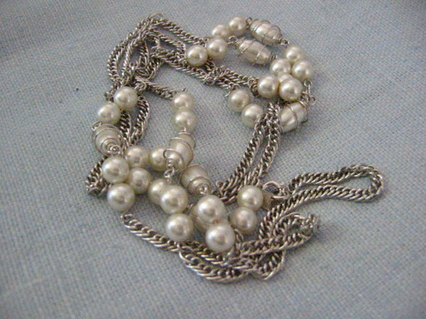 Sarah Coventry Designer Signed Pearl Silver Link Chain Necklace - Designer Unique Finds