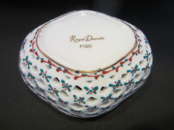 Royal Danube Rose Porcelain Box Pierced Decorated Diamond Shape - Designer Unique Finds   - 4