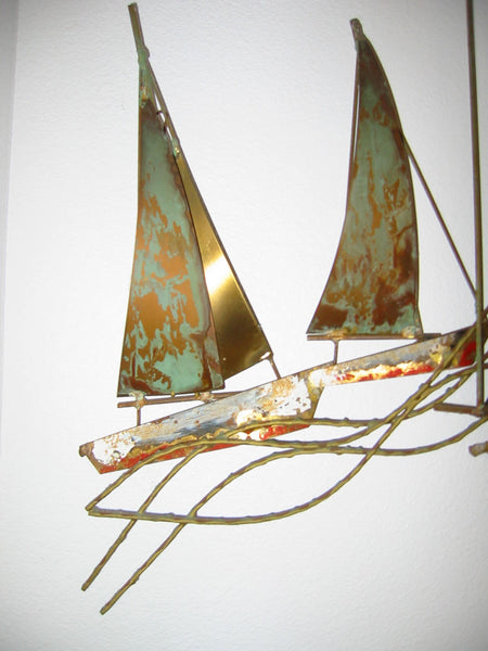 Brass Sail Boats Maritime Modern Hand Painted Wall Art - Designer Unique Finds   - 4