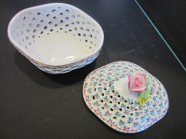 Royal Danube Rose Porcelain Box Pierced Decorated Diamond Shape - Designer Unique Finds   - 3