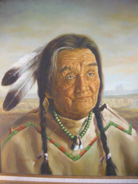 Joseph Lee Native Indian Portrait Signed Oil On Canvas - Designer Unique Finds