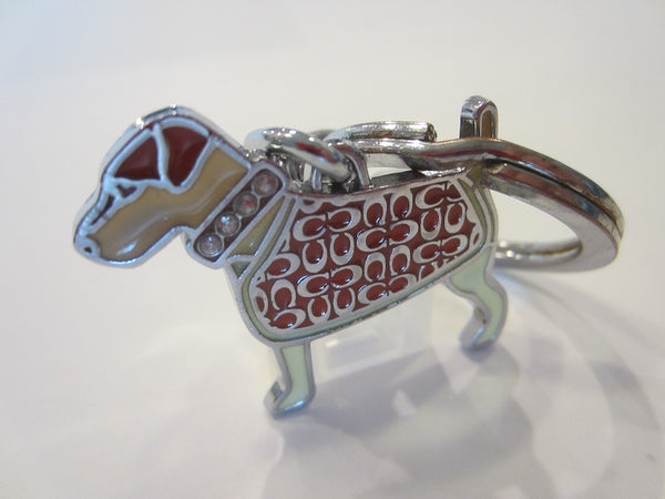 Coach Vintage Key Ring Dog With Jeweled Tone Collar
