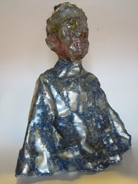 Abstract Folk Art Sculpture Aluminum Portrait Bust - Designer Unique Finds   - 1