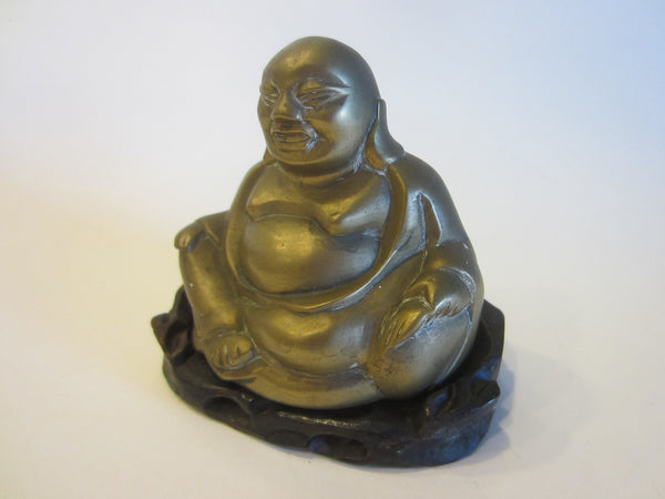 Brass Buddha On Carved Mahogany Stand