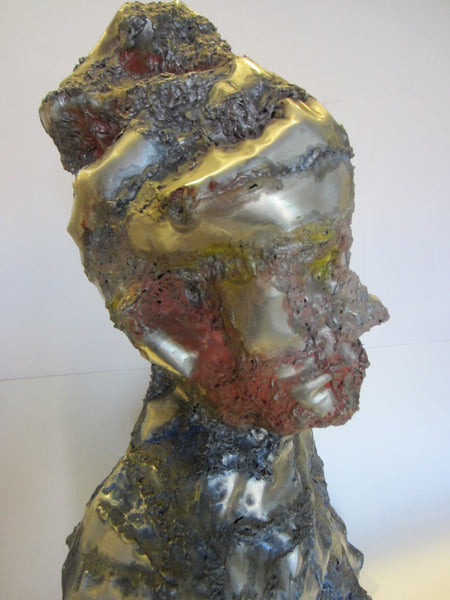 Abstract Folk Art Sculpture Aluminum Portrait Bust - Designer Unique Finds   - 2