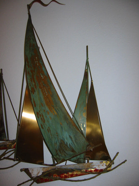 Brass Sail Boats Maritime Modern Hand Painted Wall Art - Designer Unique Finds   - 5