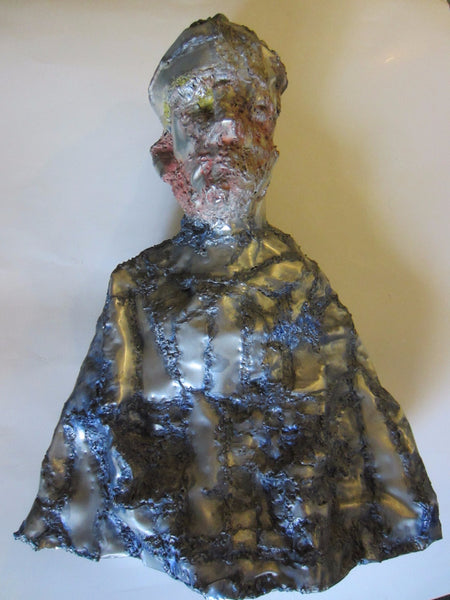 Abstract Folk Art Sculpture Aluminum Portrait Bust - Designer Unique Finds   - 3