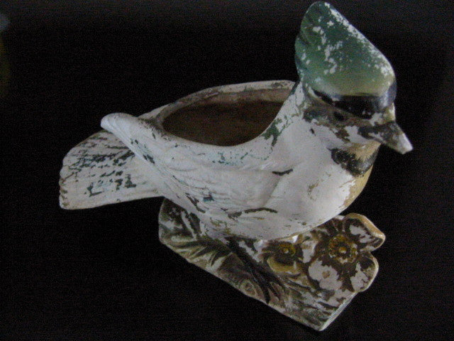 Blue Jay Pottery Planter Bird Hand Colored Signed Numbered - Designer Unique Finds   - 1