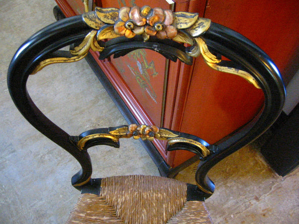 Rococo Louis XV Period Style Black Side Chair Rush Seating Decorated Flowers - Designer Unique Finds   - 1