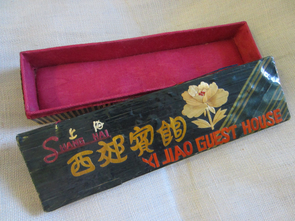 Shang Hai Bamboo Jewelry Box Red Silk Interior - Designer Unique Finds