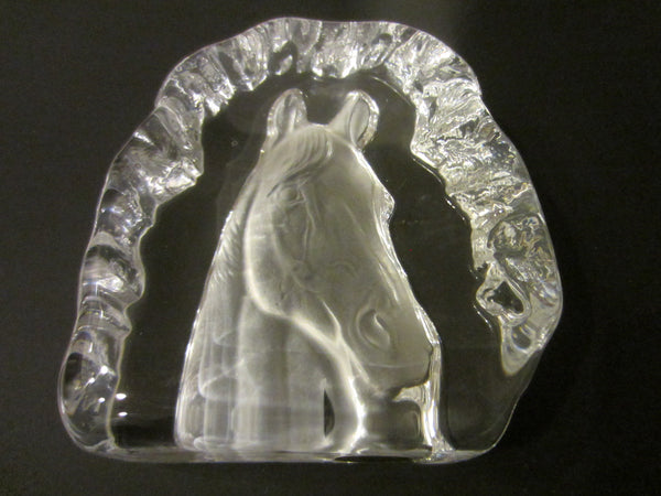Crystal D Arques France Equestrian Horse Head Paperweight - Designer Unique Finds