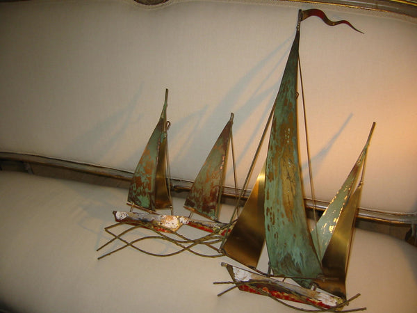 Brass Sail Boats Maritime Modern Hand Painted Wall Art - Designer Unique Finds   - 1