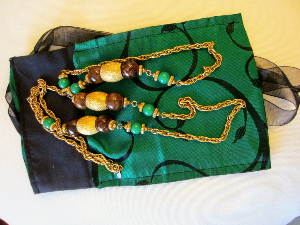 Cadoro Chain Necklace Faceted Golden Green Beads With Tag Mark