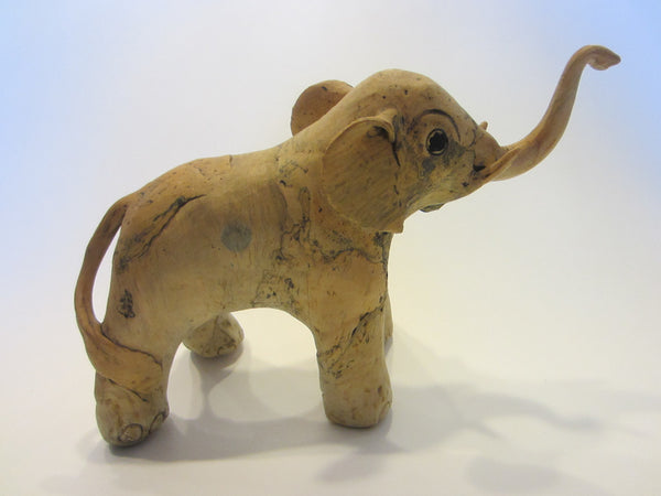 Elephant Sculpture Neutral w Black Accent and Trunk UP Good Luck