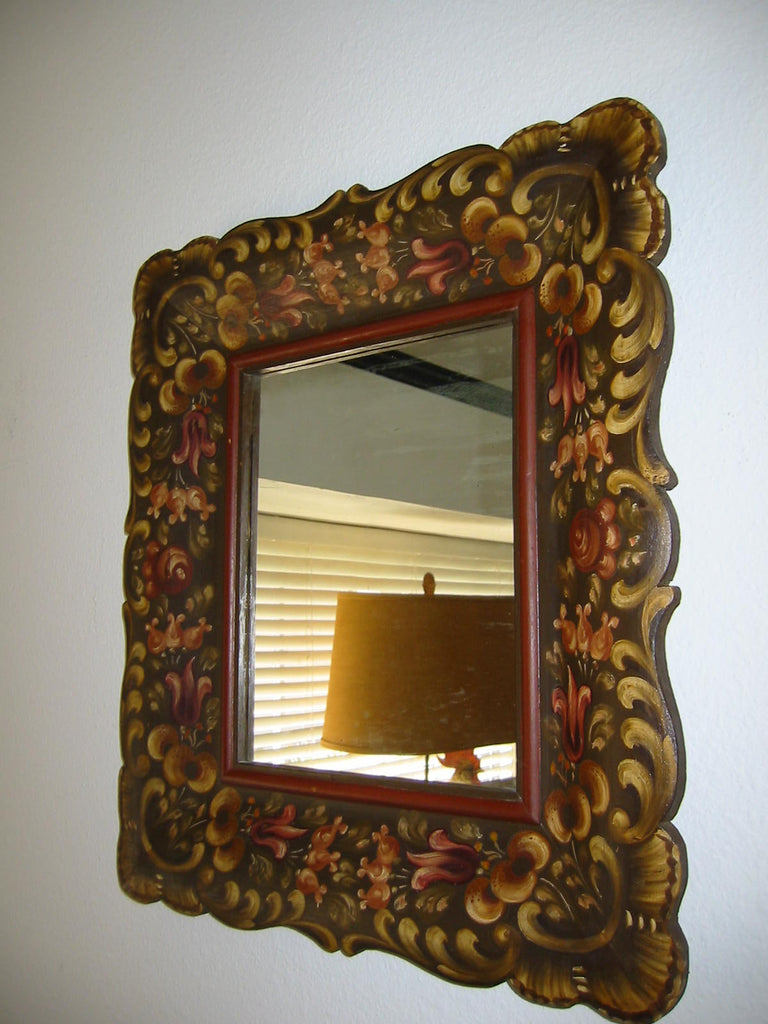 Hand Decorated Mirror Salzburg Wood Painted Fuchsias - Designer Unique Finds