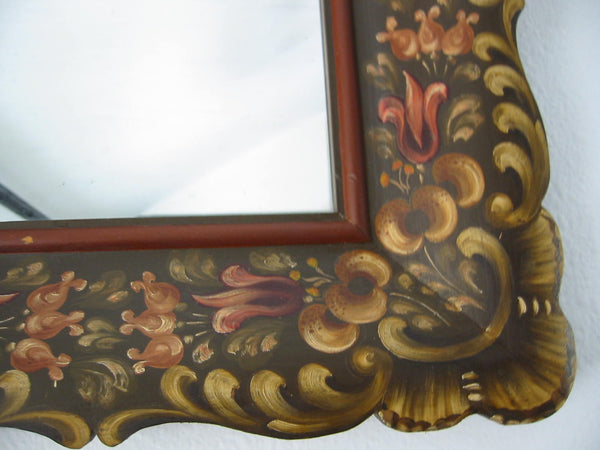 Art Deco Wood Mirror Hand Decorated Painted Fuchsias In Salzburg - Designer Unique Finds   - 2